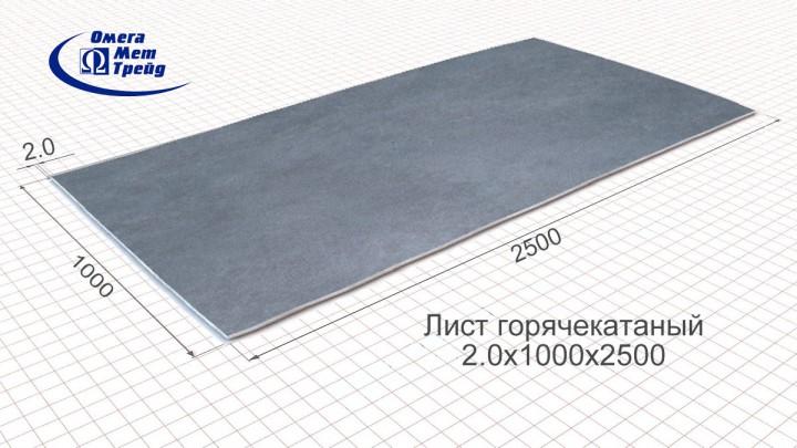 Лист горячекатаный (г/к) 2,0х1000х2500